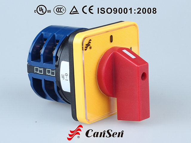 ROTARY CAM SWITCH, Main Switch LW26-32 0-1 3P Yellow-Red type