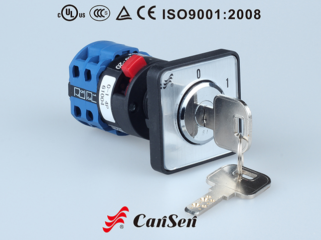 ROTARY CAM SWITCH, Main Switch LW26S-20 0-1 4P Single Hole Mount with plate and key